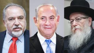 From left, Avigdor Lieberman, PM Netanyahu and Yaakov Litzman